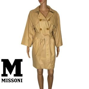 MISSONI calf leather trench coat size 42